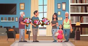 Famille multi heureuse de génération félicitant des femmes avec les hommes internationaux de concept de jour du 8 mars donnant le illustration stock