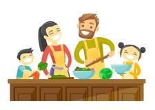Famille multiraciale avec des enfants faisant cuire ensemble illustration libre de droits