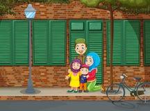 Famille musulmane sur le trottoir illustration de vecteur