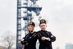 Famille noire polonaise des mineurs dans des uniformes de gala Photos stock
