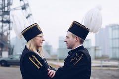 Famille noire polonaise des mineurs dans des uniformes de gala Images libres de droits