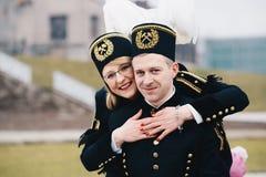 Famille noire polonaise des mineurs dans des uniformes de gala Images stock