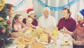Famille parlant d'un ton animé pendant le dîner de Noël Image stock