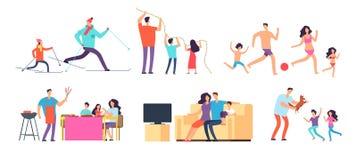Famille passant le temps ensemble Maman, papa et enfants à la maison et extérieur Personnages de dessin animé de vecteur réglés illustration libre de droits