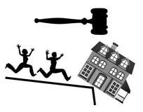 Famille perdre leur maison due à la faillite illustration libre de droits
