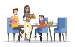 Famille prenant le petit déjeuner à la table de cuisine illustration stock