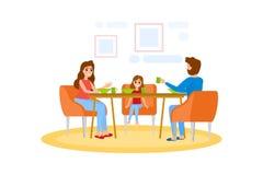 Famille prenant le petit déjeuner à la table de cuisine illustration de vecteur