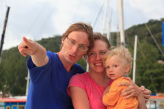 Famille regardant vers l'avant Image libre de droits