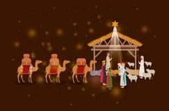 Famille sainte dans l'écurie avec la mangeoire sage de rois illustration libre de droits