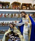 Famille sainte, petits chiffres de Belen, marché de Noël Photo stock
