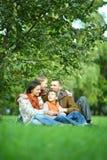 Famille se reposant en parc Images stock