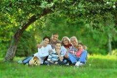 Famille se reposant en parc d'été Photos libres de droits