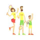 Famille sportive avec les raquettes et la boule de tennis Photographie stock libre de droits