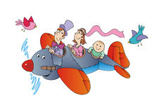 Famille sur l'avion Image stock