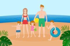 Famille sur la plage illustration stock