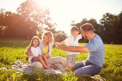 Famille sur le pique-nique en parc