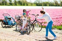 Famille sur le vélo dans des domaines de fleur de tulipe, Hollande photos stock