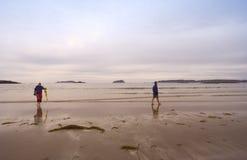 Famille sur Long Beach de stationnement national de pays de la côte Pacifique images stock