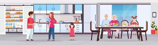 Famille sur plusieurs générations ayant les parents heureux et les enfants de grands-parents de petit déjeuner recueillant l'inté illustration libre de droits
