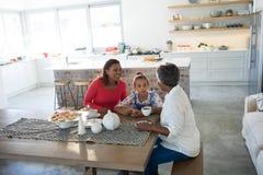 Famille sur plusieurs générations heureuse ayant le thé dans la table de salle à manger Image libre de droits