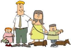 Famille sur une laisse Images libres de droits