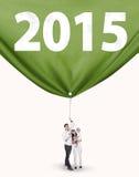 Famille tirant le numéro 2015 Photographie stock