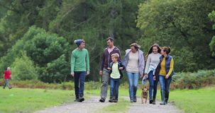 Famille trimardant dans le secteur de lac clips vidéos