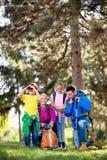 Famille trimardant dans les montagnes image libre de droits
