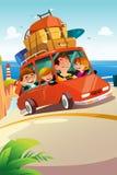 Famille voyageant sur un voyage par la route illustration stock