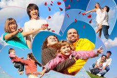 Familles avec des enfants et de jeunes paires Images stock