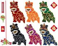 Familles de danse de lion réglées illustration libre de droits