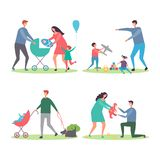 Familles heureuses avec des enfants et des chiens Mères et pères marchant et jouant avec des enfants dans le vecteur de parc de v illustration de vecteur