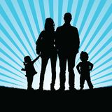 Familly silhouette in nature illustration Stock Image