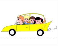 Familn in automobile Fotografia Stock