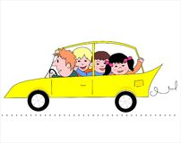 Familn in car Stock Photography
