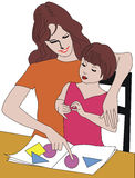 Family. Mother and daughter Stock Illustration