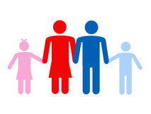 Family. Father,mother and children, family silhouettes icon Stock Photography