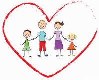 Family. Happy, amicable family in heart Royalty Free Stock Photography