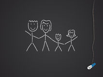 Family. Drawn on a chalkboard/blackboard vector illustration