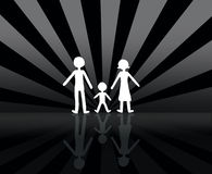 Family. B&w background with family group vector illustration