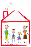 Family. Amicable family and the house Royalty Free Stock Images