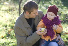Family. Father plays with a daughter in wood Stock Photo
