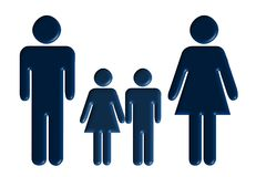 Family. The father, mother, the son, the daughter - a volumetric outline Stock Photos
