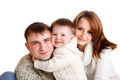 Family. Beautiful young family of three, isolated Stock Photos