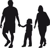 Family. Black silhouettes of mother, father and daughter stock illustration