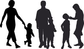 Family. Black silhouette of three families stock illustration