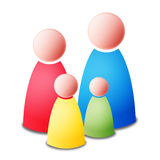 Family. Isolated vector four persons - mother, father, two children - colorful family on white background Stock Photography