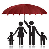 Family. Silhouettes of woman, man, children, family under umbrella cover.Vector illustration Stock Photo