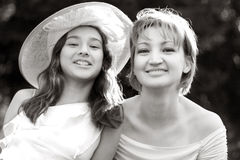 Family. Sepia portrait of mother and daughter Royalty Free Stock Photo