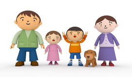 Family. Smiling family of four. Raise your hands, laughing children. Father, mother, son, daughter, good friends family. Have a pet dog Stock Image